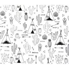 tissu coton à colorier tipi cactus largeur 150cm x 50cm