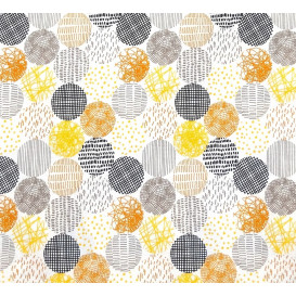 tissu coton blanc ronds multi largeur 150cm x 50cm