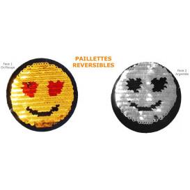 emblème paillettes réversible smiley 7cm thermocollant n°2