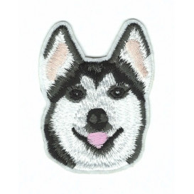 écusson chien husky thermocollant