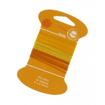 Fils coton et organza orange