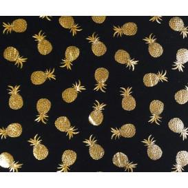 tissu jersey noir ananas doré brillant largeur 150cm x 50cm