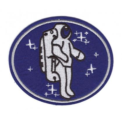 écusson astronaute ovale bleu thermocollant