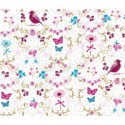 tissu coton blanc oiseau pissenlit largeur 145cm x 50cm