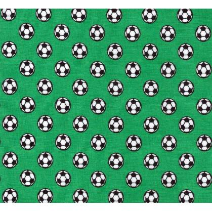tissu coton vert ballon de foot largeur 145cm x 50cm