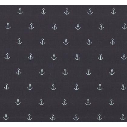 tissu coton bleu marine ancre largeur 147cm x 50cm