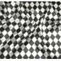 coupon 0,81mx1,12m tissu satin carnaval losange noir et blanc