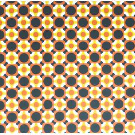 coupon 0,30mx1,50m de tissu stenzo popeline jaune/orange carrés et ronds