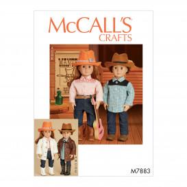 patron vêtement, chapeau de poupées 46cm McCall's M7883