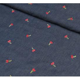 tissu jean bleu brodé cerises largeur 155cm x 50cm