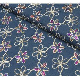 tissu jean bleu brodé fleurs paillettes largeur 140cm x 50cm