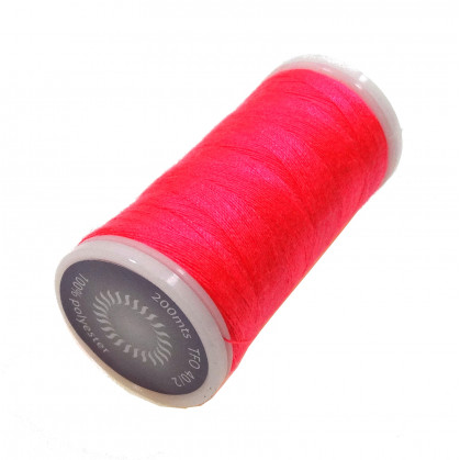 fil à coudre polyester rose fluo 200m