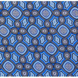 tissu africain wax brillant formes bleues largeur 113cm x 50cm