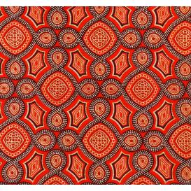 tissu africain wax brillant formes oranges largeur 113cm x 50cm