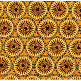 tissu africain wax brillant soleils jaunes largeur 113cm x 50cm