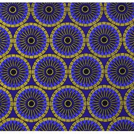 tissu africain wax brillant soleils bleus largeur 113cm x 50cm