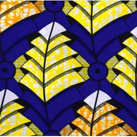 tissu africain wax formes bleu/jaune/orange largeur 113cm x 50cm