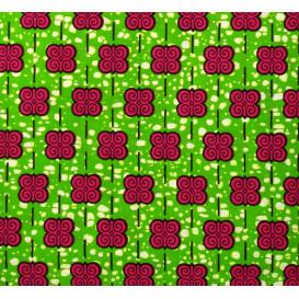 tissu africain wax arabesque fuchsia largeur 113cm x 50cm