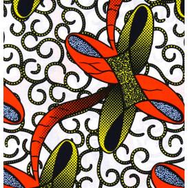 tissu africain wax noeuds jaune/orange largeur 113cm x 50cm