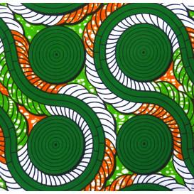 tissu africain wax formes verte/orange largeur 113cm x 50cm