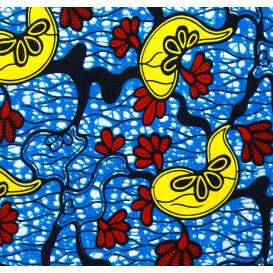 tissu africain wax fleurs jaunes largeur 113cm x 50cm