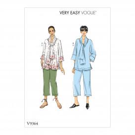patron haut, écharpe et pantalon Vogue V9364