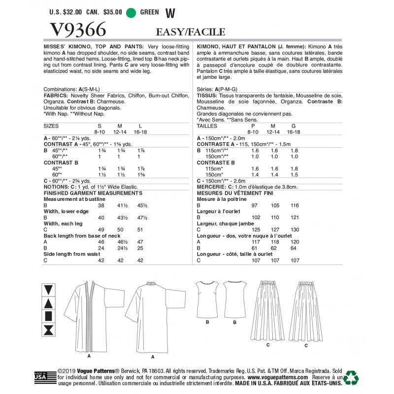 Et V9366 KimonoHaut Pantalon Patron Vogue e9WEDH2IY