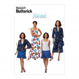patron veste, haut, robe, jupe et pantalon Butterick B6669
