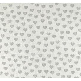 coupon 0,46mx1,80m tissu lin gris fleurs