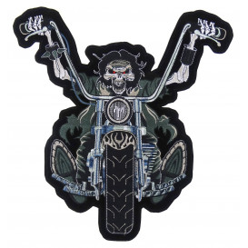 écusson biker squelette à moto thermocollant