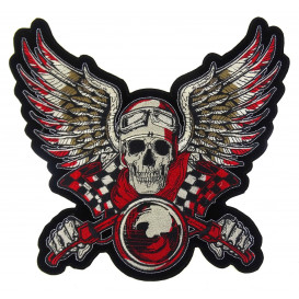 écusson biker squelette à moto avec ailes thermocollant