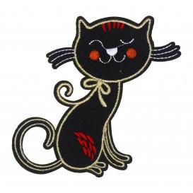 écusson grand chat noir thermocollant