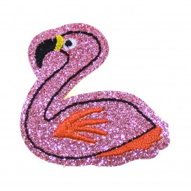 écusson flamant rose assis paillettes thermocollant