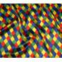 tissu coton jaune fleurs orange largeur 150cm x 50cm