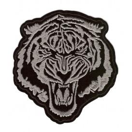 écusson tête de tigre gris foncé 9,5cm thermocollant
