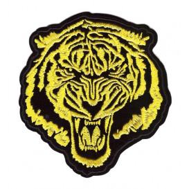 écusson tête de tigre jaune 9,5cm thermocollant