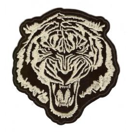 écusson tête de tigre or 9,5cm thermocollant