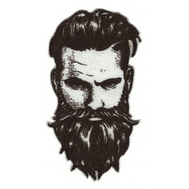 écusson homme barbe hipster thermocollant