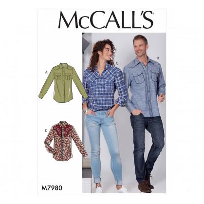 patron chemise semi-ajustée McCall's M7980
