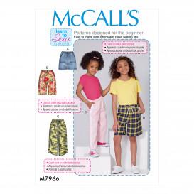 patron enfant short, pantalon McCall's M7966