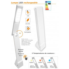 lampe LED rechargeable USB A+ blanc