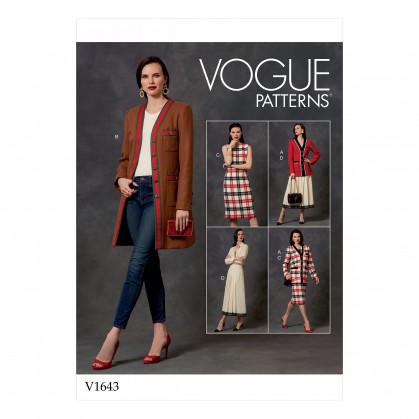 patron veste, robe, jupe Vogue V1643