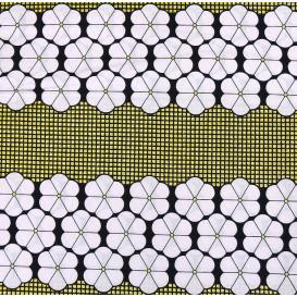 tissu africain wax brillant fleurs noir/blanc largeur 113cm x 50cm