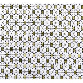 tissu africain wax brillant fleurs blanches largeur 113cm x 50cm