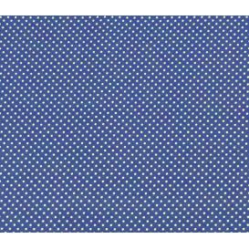 coupon 0,10mx1,50m  tissu coton bleu roi pois 2mm