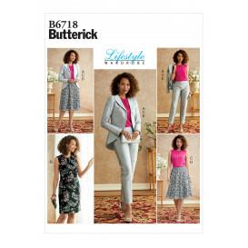 patron veste, robe, haut, jupe Butterick B6718