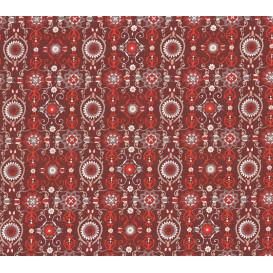 coupon 0,40mx1,40m tissu coton bordeaux arabesques rouges