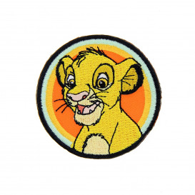écusson disney le roi lion tête de simba rond thermocollant