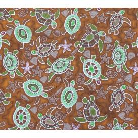 tissu coton marron tortues largeur 150cm x 50cm