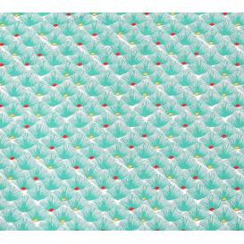 tissu coton éventail turquoise largeur 150cm x 50cm